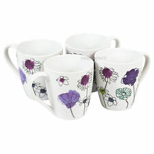 Set of 4 Aster Floral Porcelain Mugs Cups Latte Coffee Tea Hot Chocolate Kitchen