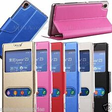 S-View Leather Flip Smart Slim Case Cover With Stand For Sony Xperia Z3
