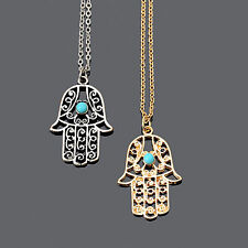 Hamsa Hand of Fatima Pendant Necklace.