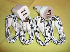 1X DUAL WALL 1X CAR CHARGER 4X BRAIDED 8 Pin USB DATA SYNC CABLE FOR iPhone 5 6