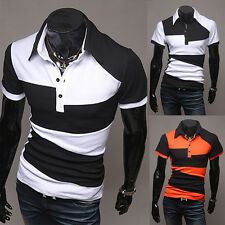 Mens Slim Casual Color Matching Polo Shirt Stylish T-Shirt Short Sleeve Tops Tee