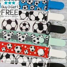 Soccer Hand Made Dummy Clip - Pacifier Clips - Soother  Chain (DC100418)