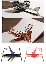 NEW 3D Airplane Birthday Card Pop Up Gift Greeting Sweet Card With Envelope LOVE