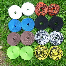 ROAD BIKE BICYCLE CORK HANDLEBAR BAR GRIP WRAP TAPE + 2 BAR PLUGS 15 COLORS S3BN