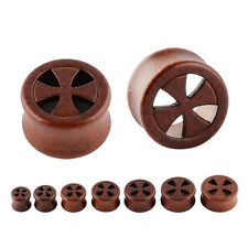 PAIR Carved Cross Organic Sono Wood Double Flared Saddle Ear Flesh Tunnel Plug