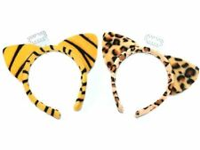 Animal Print Alice Band with Ears Headband Tiger or Leopard Fancy Dress Party