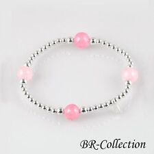 Sterling Silver Stretch Bracelet with Rose Quartz, Turquoise, Onyx or Tigers Eye
