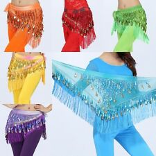 3 Layers Gold Coins Sequins Belly Dance Wrap Dancer Costume Hip Scarf Skirt Belt