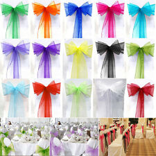 1-100Pcs Organza Chair Cover Bow Sash Wedding Party Banquet Reception Decoration