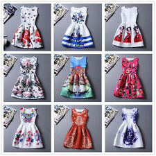 New Korean Summer Womens TuTu Dress Vintage Digital Evening Party Print Dresses