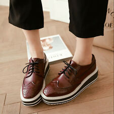 Womens Creeper Oxford Platform Wing Tip Comfort Brogues Punk Shoes All US Size