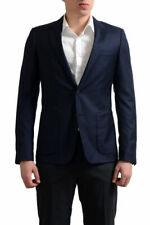 Prada Men's Navy Blue Printed 100% Wool Sport Coat Blazer US 38R 40R 42R 44R