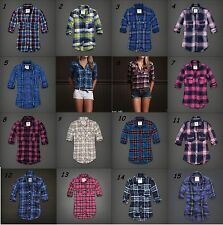 NWT Abercrombie & Fitch Flannel Plaid Button Pocket Shirt sz XS S M