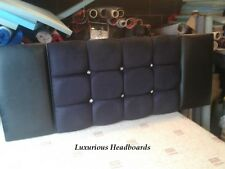 Faux Leather Headboard Black With Diamantes