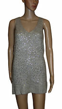 NEW! Womens Longline Grey Mohair Soft Sparkly Sequins Sleeveless Jumper Size 12