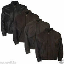 Mens Leather Bomber Jacket Brown Black Real 100% Genuine Everyday Style