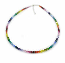 .925 Sterling Silver Rainbow Necklace 4mm Crystals MADE WITH SWAROVSKI ELEMENTS
