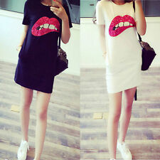 Women Sequined Lip Short Sleeve T-Shirt Summer Casual Loose Long Top Mini Dress