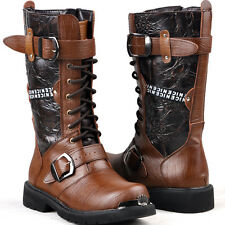 Rock Band -2016 NEW TOP Fashion MEN MALE BROWN PUNK COOL Riding ARMY LONG boot