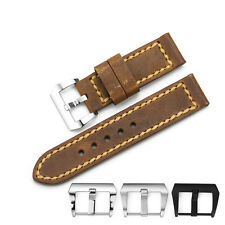 24mm Vintage Brown Genuine Cow Leather Watch Band Strap Wristband For PAM U-Boat