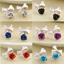 Hot Fashion Pair Gold Plated Bowknot Rose Flower Cute Ear Stud Earrings Jewelry
