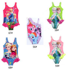 Girls Kids Princess Swimsuit Swimwear 2-9T Swim Lovely Child Clothes Pink Blue