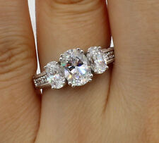 2.50 Ct 14K White Gold Oval Cut 3 Three Stone Engagement Propose Promise Ring