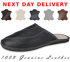 MENS SLIPPERS 100% REAL GENUINE LEATHER FLIPFLOP MULES SHOES SIZE 7 8 9 10 11 12