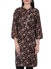 Indian Women's Cotton Printed Brown Kurti Kameez Top Ethnic Dress Top Tunic
