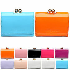 Women Designer Small Ball Clasp Matinee Purse Faux Patent Leather Wallet Clutch