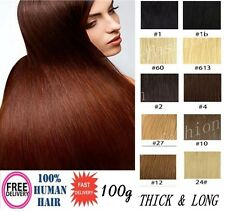 100g Clip-in Full Head Remy Real Human Virgin Thick Hair Extensions 20'' 8pcs