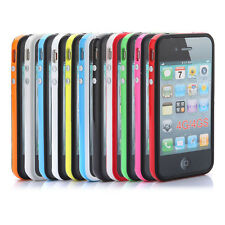 TPU Gel Bumper Frame Silicone Soft Case Cover W/Metal Button For iPhone 4 4G 4S