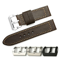 26mm Brown Genuine Calf Leather Watch Band Wrist Strap Pre-V Buckle For Panerai