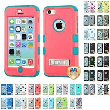 For Apple iPhone 5C Hybrid TUFF Armor Shockproof Rugged Hard Soft Case Cover