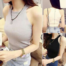 Womens Halter Sleeveless Zip Vest Crop Top Camisole Sweater Tank Shirt Blouse