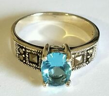 100% Genuine 925 Sterling Silver Vintage MARCASITE Blue Topaz Ring 5 6 7 8 9