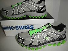 "NWB Mens K-Swiss ""Tubes RUN 130"" Athletic Training Shoes: Gray/Black/Neon Green"