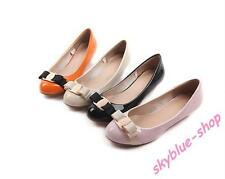 Womens New Round Toe Patent Leather Bowtie Low Heels Pumps Court OL Shoes Office
