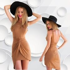 Summer Women's Sleeveless Sexy Package Hip Pleated Dress Camel Party Mini Dress