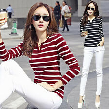Korean Fashion Womens Basic Slim Stripe V Neck Career Tops Blouse T-shirt S-2XL
