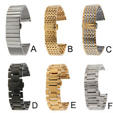 18/20/22/24mm Unisex Double Butterfly Buckle Fold Stainless Steel Watch Band