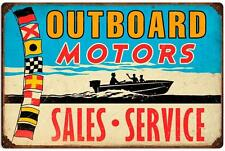 Vintage Retro Outboard Motors Sales Service Speed Boat Metal Sign Wall Decor