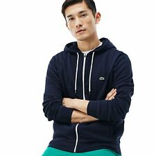 Lacoste Navy Blue/White Fleece Hooded Sweatshirt w/ Ribbed Accents