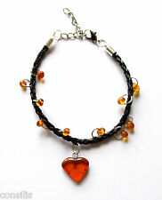 Bracelet with natural Baltic amber heart and beads, gemstone jewelry with chain