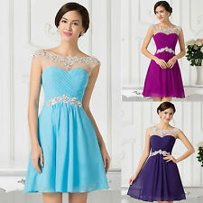 Beaded Chiffon Short Homecoming Bridesmaid Graduation Cocktail Party Prom Dress