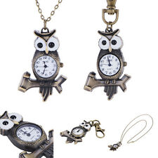 Antique Style Vivid Owl Pocket Watches Key Ring Watch For Men Women Best Gifts