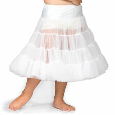 Girls White Bouffant Half-Slip Petticoat - Tea Length, (2T - 12)