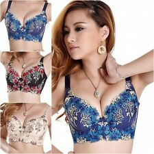 Comforty Women Seamless Side Support Plunge Bra Underwire Push Up Bra Embroidery