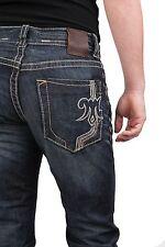 Mek Denim Men's Jeans Straight Leg Button Fly Embroidered Stitching New 34""