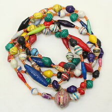 Paper Beads Necklace Papier Mache Bead for Life Multi Colour Lariat Hand Rolled